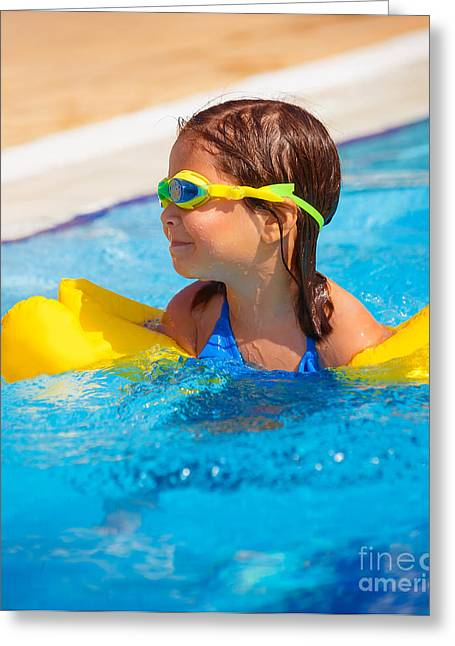 Floating Girl Greeting Cards - Happy little girl in the pool Greeting Card by Anna Omelchenko