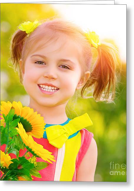 Sunflower Joy Greeting Cards - Happy little girl with sunflowers Greeting Card by Anna Omelchenko
