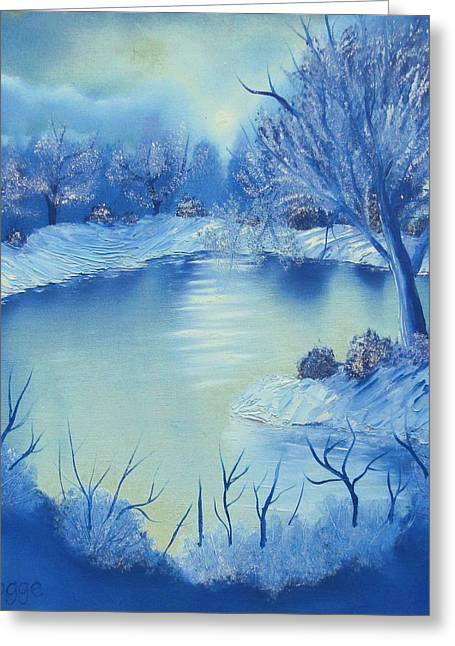 Bob Ross Paintings Greeting Cards - Happy Little Winterscape Greeting Card by Ben Pogge