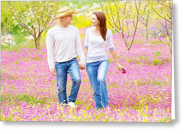 Green Flower Hat Greeting Cards - Happy lovers walking outdoors Greeting Card by Anna Omelchenko