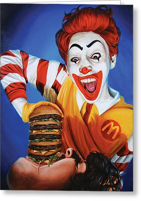 Cheeseburger Paintings Greeting Cards - Happy Meal Greeting Card by Kelly Gilleran
