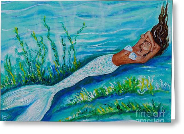 Under The Sea Mermaid Greeting Cards - Happy Mermaid Greeting Card by Leslie Allen