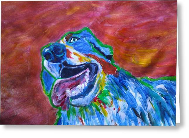 Slobber Greeting Cards - Happy Monty Greeting Card by Tessa Fuqua