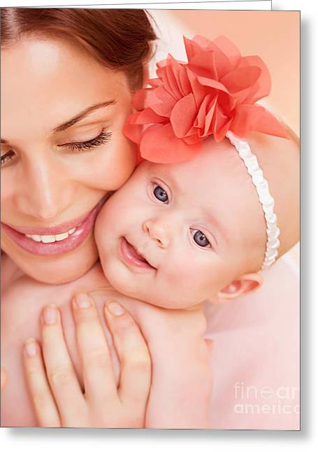 Caring Mother Greeting Cards - Happy mother with baby Greeting Card by Anna Omelchenko