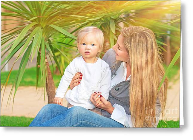 Caring Mother Greeting Cards - Happy mother with baby girl Greeting Card by Anna Omelchenko