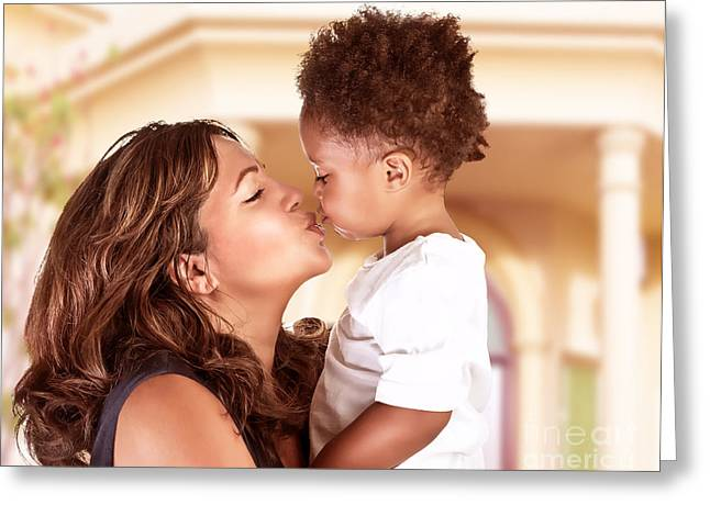 African-american Greeting Cards - Happy mother with cute son Greeting Card by Anna Omelchenko