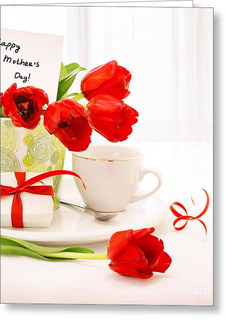 Indoor Still Life Greeting Cards - Happy mothers day Greeting Card by Anna Omelchenko