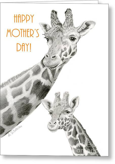 Baby Animal Drawings Greeting Cards - Happy Mothers Day Giraffes Greeting Card by Sarah Batalka