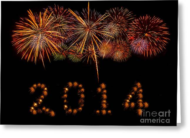 Pyrotechnics Greeting Cards - Happy New Year 2014 Greeting Card by Anek Suwannaphoom
