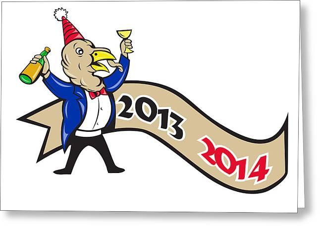Tuxedo Greeting Cards - Happy New Year 2014 Turkey Toasting Wine Cartoon Greeting Card by Aloysius Patrimonio
