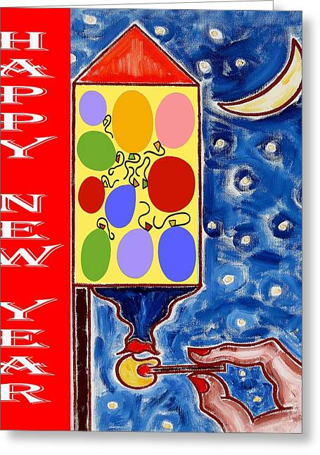 Celebration Art Print Greeting Cards - Happy New Year 47 Greeting Card by Patrick J Murphy
