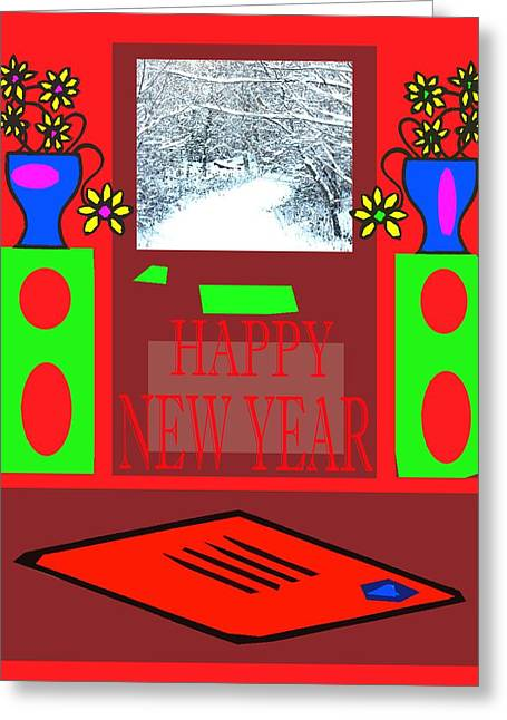 Snow Tree Prints Mixed Media Greeting Cards - Happy New Year 97 Greeting Card by Patrick J Murphy