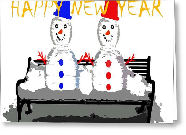 Cute Mixed Media Greeting Cards - Happy New Year 98 Greeting Card by Patrick J Murphy