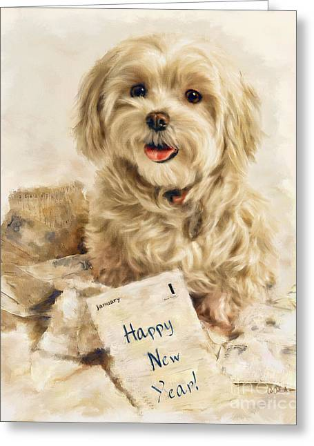 Toy Maltese Mixed Media Greeting Cards - Maltese Happy New Year Greeting Card by Andrea Auletta