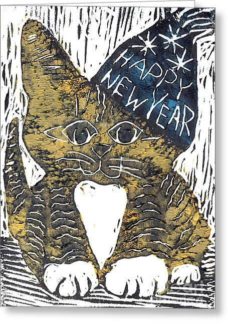 Relief Printing Greeting Cards - Happy New Year Cat  Greeting Card by Ellen Miffitt
