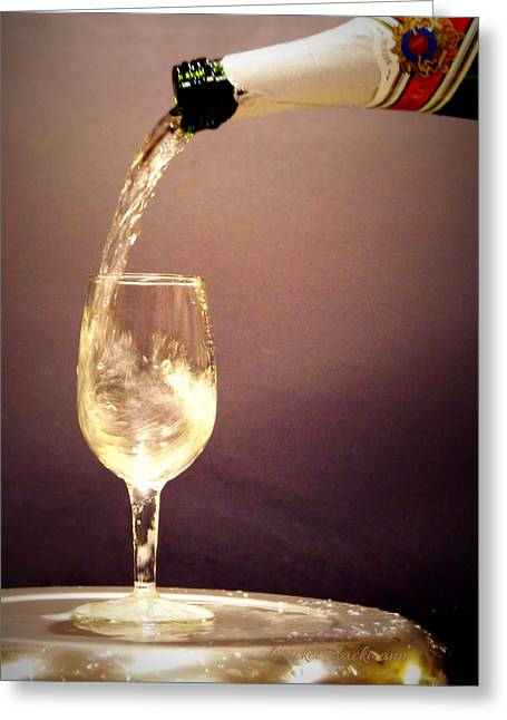 Wine Pouring Greeting Cards - Happy New Year Greeting Card by Cricket Hackmann