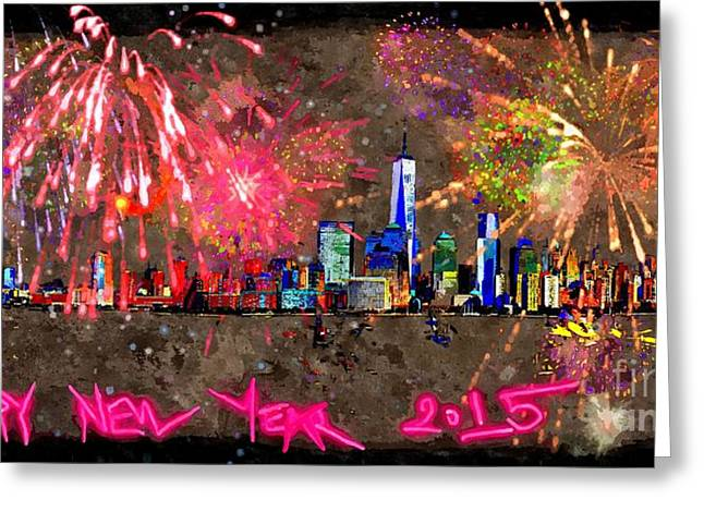 Town Mixed Media Greeting Cards - Happy New Year Greeting Card by Daniel Janda