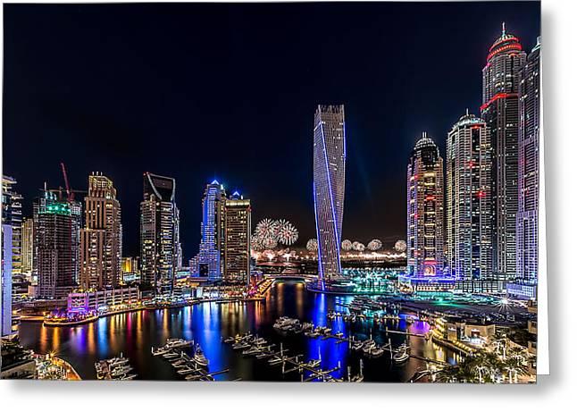 Happy New Year Dubai Greeting Card by Vinaya Mohan