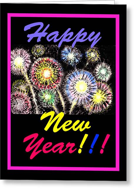 Fireworks Greeting Cards - Happy New Year Greeting Card by Irina Sztukowski