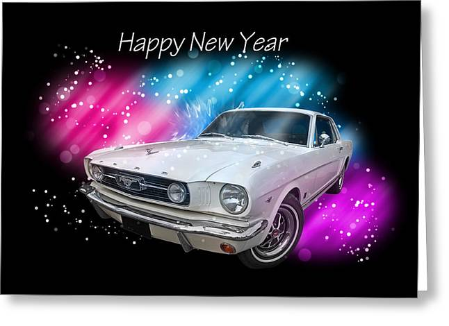 New Year Greeting Cards - Happy New Year Mustang Greeting Card by Gill Billington