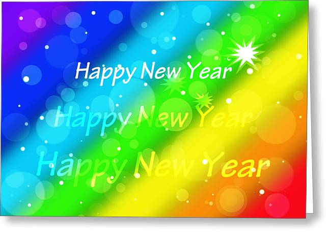 New Year Greeting Cards - Happy New Year Rainbow Greeting Card by Gill Billington