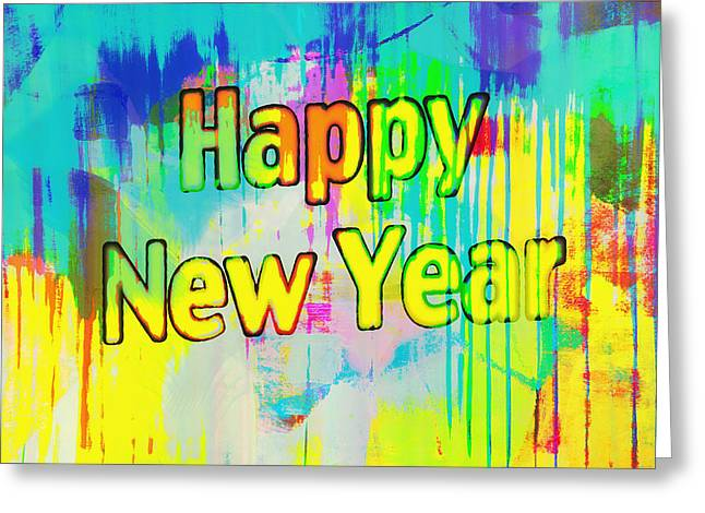 New Year Greeting Cards - Happy New Year Greeting Card by Susan Stone