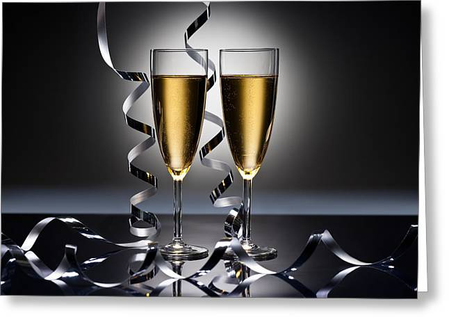 Sparkling Wine Greeting Cards - Happy New Year Greeting Card by Ulrich Schade
