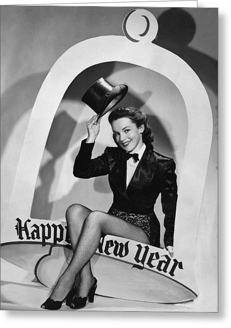Black Top Greeting Cards - Happy New Year Woman Greeting Card by Underwood Archives