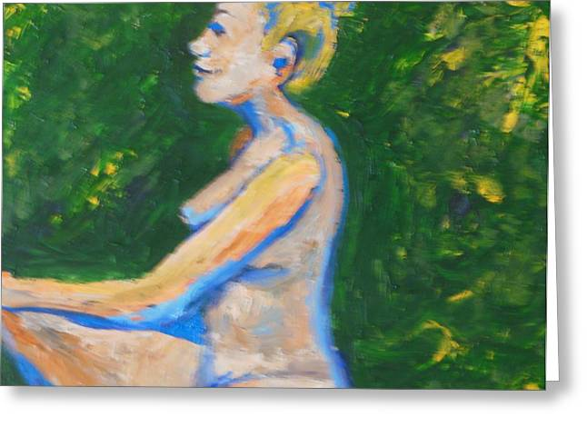 Oil On Canvas Board Greeting Cards - Happy Nude in Garden Greeting Card by Esther Newman-Cohen