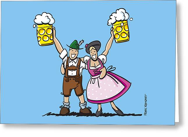 Happy Oktoberfest Couple Beer Greeting Card by Frank Ramspott