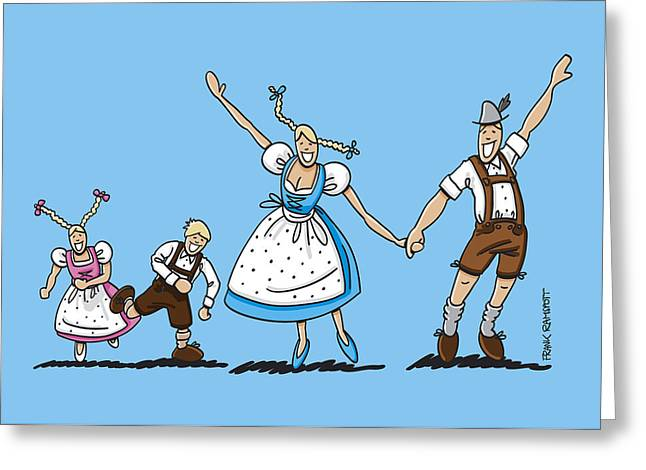 Munich Greeting Cards - Happy Oktoberfest Couple With Children Greeting Card by Frank Ramspott