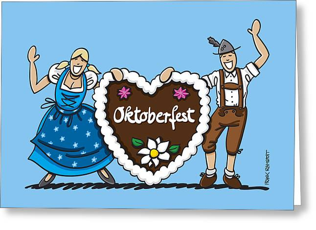 Happy Oktoberfest Couple With Gingerbread Heart Greeting Card by Frank Ramspott