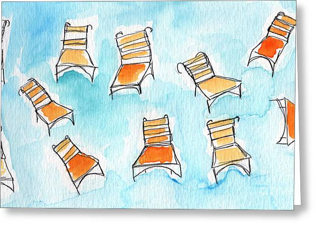 Whimsical Mixed Media Greeting Cards - Happy Orange Chairs Greeting Card by Linda Woods