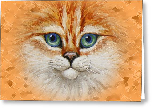 Orange Tabby Paintings Greeting Cards - Happy Orange Kitty Pillow Greeting Card by Crista Forest