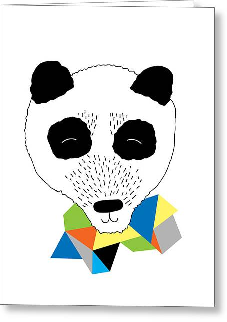 Geometric Animal Greeting Cards - Happy Panda Greeting Card by Susan Claire