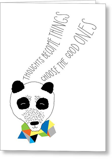 Geometric Animal Greeting Cards - Happy Panda Variant 1 Greeting Card by Susan Claire