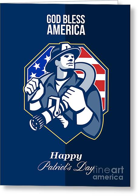 Fireman Posters Greeting Cards - Happy Patriots Day God Bless America Retro Greeting Card by Aloysius Patrimonio