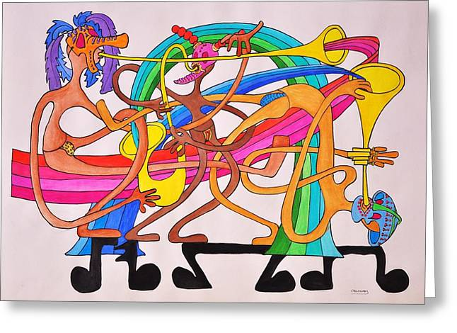 Happy People Horns Greeting Card by Glenn Calloway