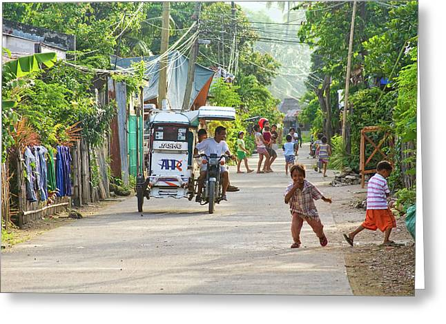 Insogna Greeting Cards - Happy Philippine Street Scene Greeting Card by James BO  Insogna