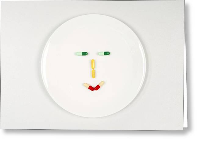 Abstract Expression Greeting Cards - Happy pill face Greeting Card by Science Photo Library