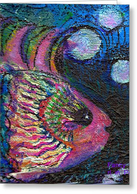 Silly Fish Greeting Cards - Happy Pink Fish Greeting Card by Anne-Elizabeth Whiteway