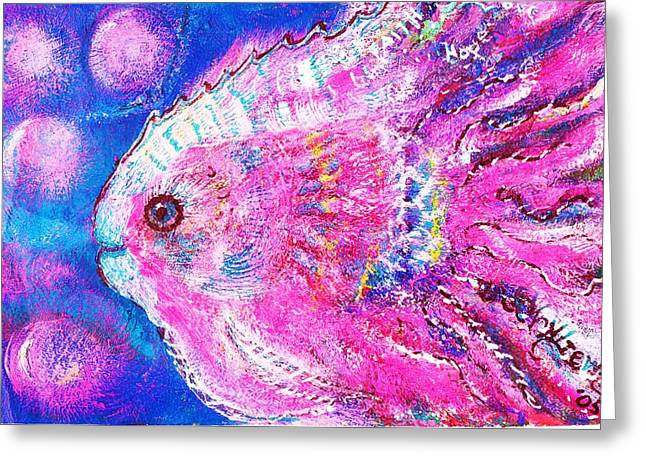 Bubbly Mixed Media Greeting Cards - Happy Pink Fish Version 2 Greeting Card by Anne-Elizabeth Whiteway