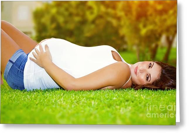 Awaiting Greeting Cards - Happy pregnant outdoor Greeting Card by Anna Omelchenko
