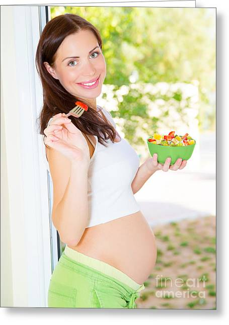 Awaiting Greeting Cards - Happy pregnant woman eating Greeting Card by Anna Omelchenko