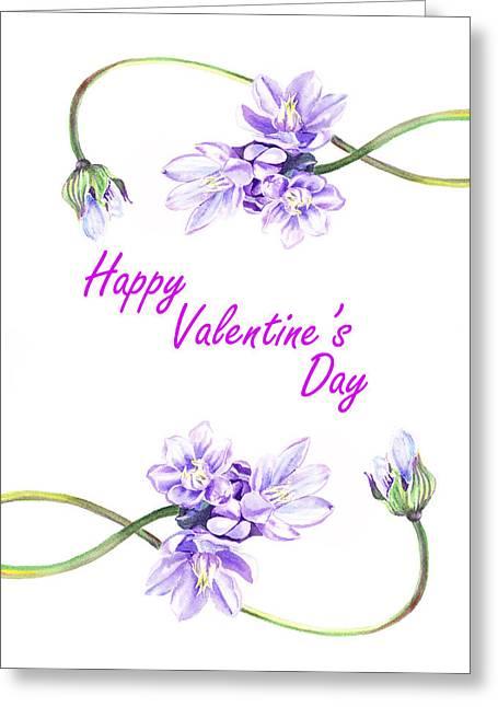 Valentine Greeting Cards - Happy Purple Valentine Greeting Card by Irina Sztukowski