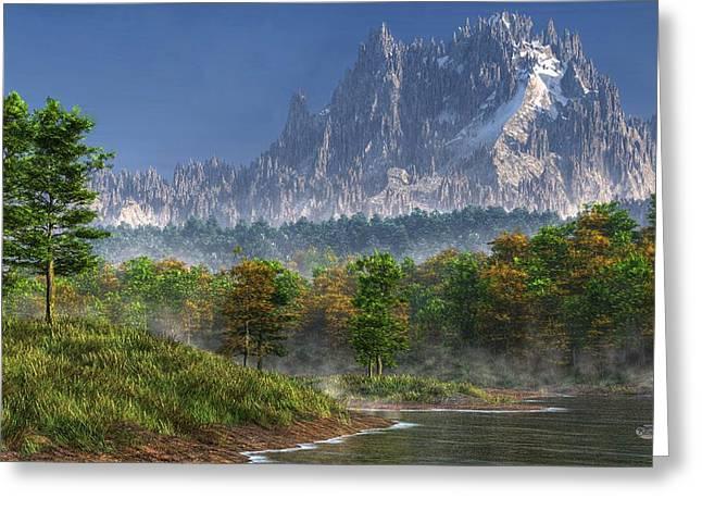 Bob Ross Digital Art Greeting Cards - Happy River Valley Greeting Card by Daniel Eskridge