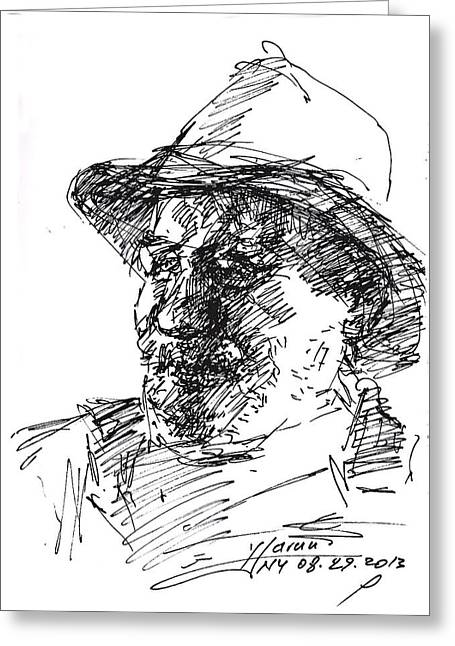 Cowboy Sketches Greeting Cards - Happy Roger Greeting Card by Ylli Haruni
