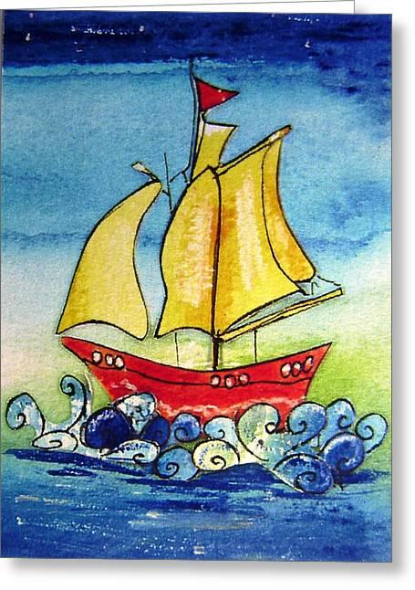 Bathroom Prints Mixed Media Greeting Cards - Happy Sailing ship  Greeting Card by Mary Cahalan Lee