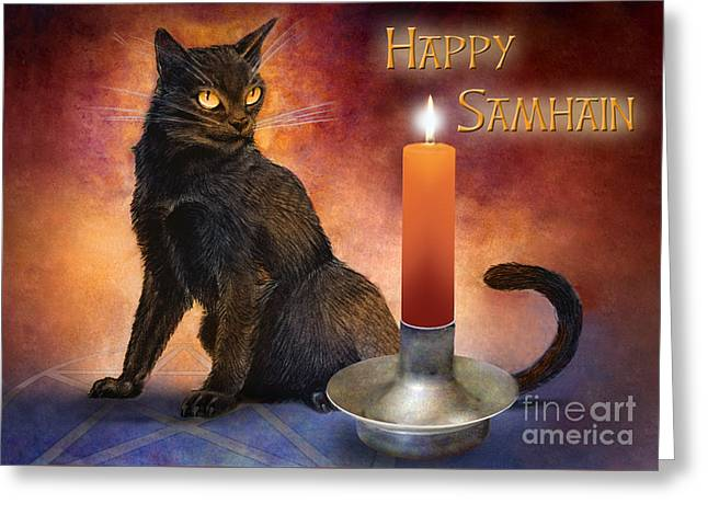 Samhain Greeting Cards - Happy Samhain Kitten and Candle Greeting Card by Melissa A Benson