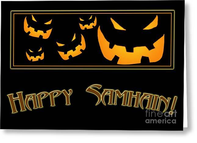 Samhain Greeting Cards - Happy Samhain Pumpkins Greeting Card by Melissa A Benson